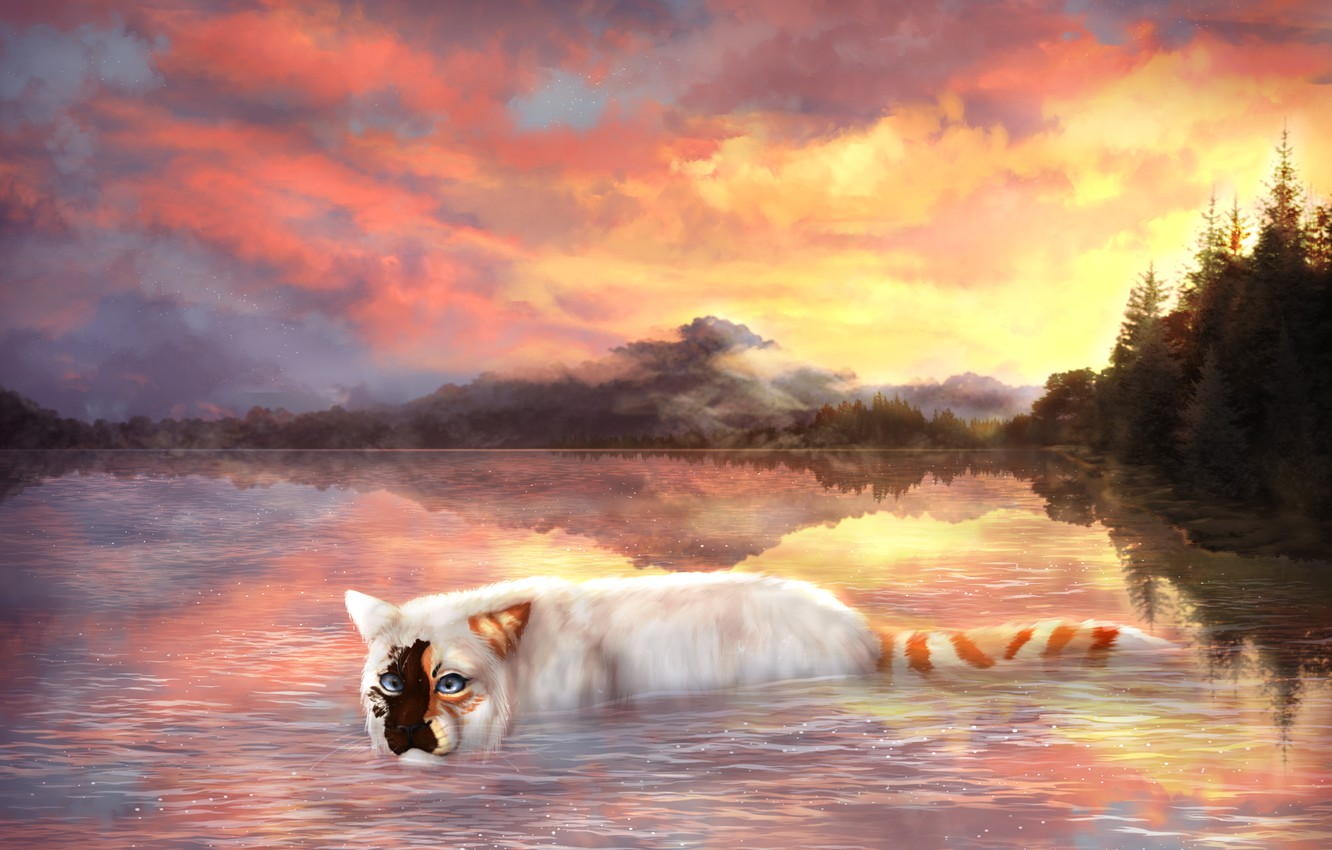 Photo wallpaper cat, the sky, water, clouds, trees, nature, drawings, Cryptillian