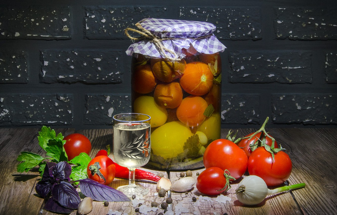 Photo wallpaper light, table, food, Bank, pepper, bricks, vodka, vegetables, tomatoes, tomatoes, glass, spices, garlic, Basil, blank, …