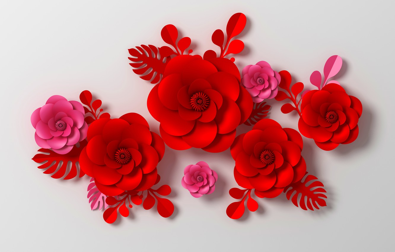 Photo wallpaper flowers, rendering, pattern, red, red, pink, flowers, composition, rendering, paper, composition, floral