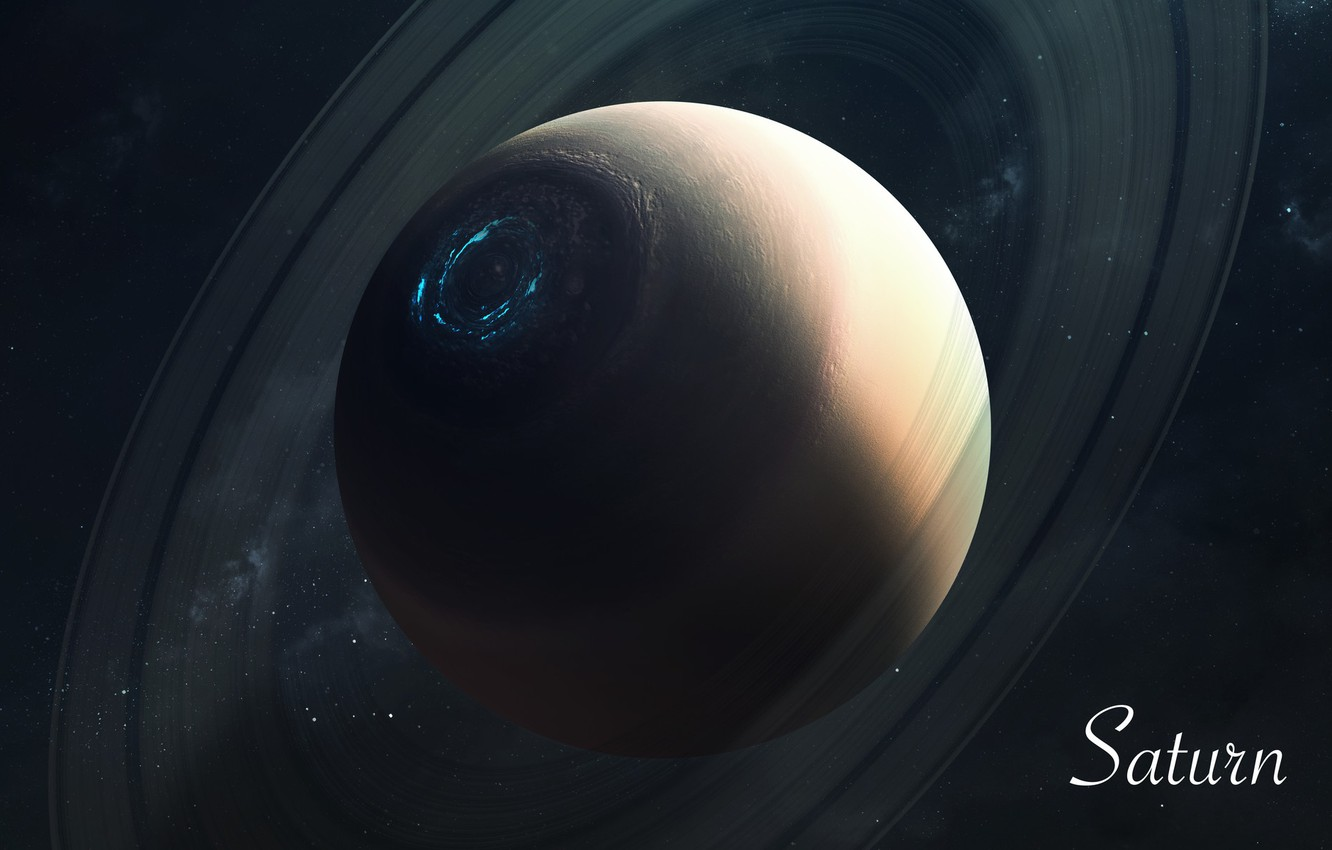 Photo wallpaper Saturn, Stars, Planet, Space, Saturn, Art, Stars, Space, Art, Planet, Universe, Galaxy, System, Science Fiction, ...