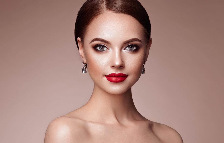 Photo wallpaper look, background, portrait, earrings, makeup, hairstyle, brown hair, beauty