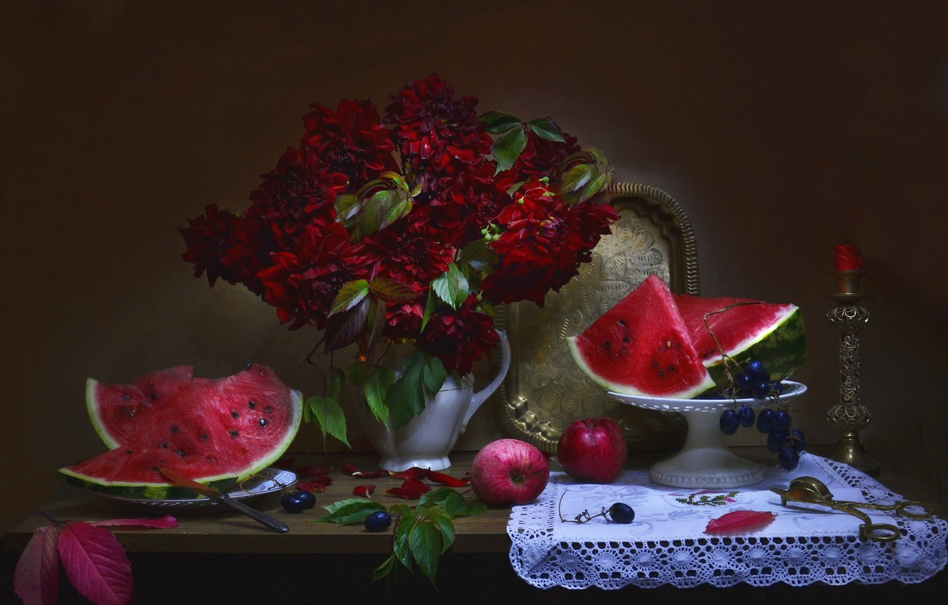 Photo wallpaper leaves, flowers, berries, apples, candle, watermelon, plate, grapes, knife, pitcher, fruit, still life, napkin, tray, …
