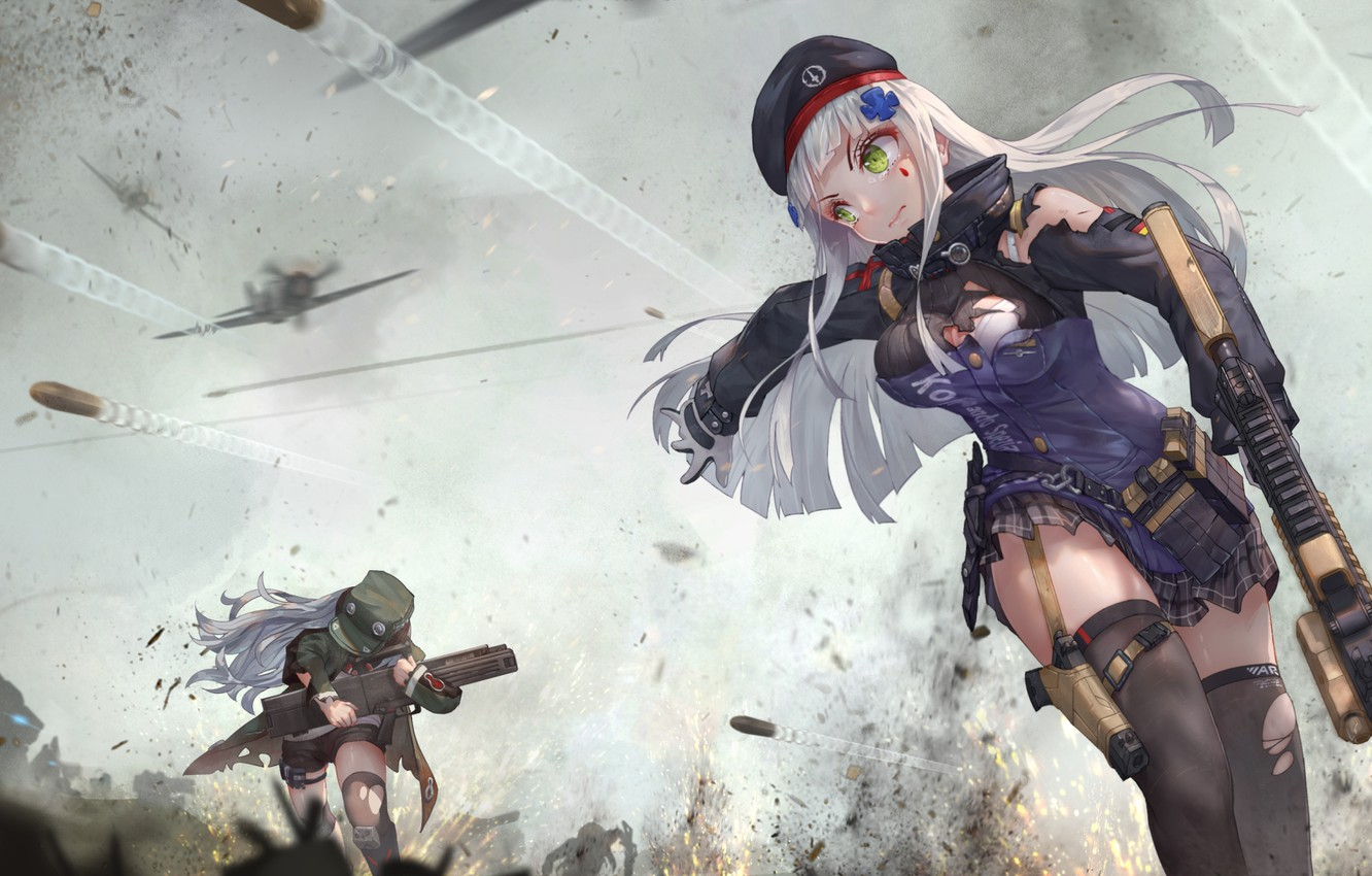 Photo wallpaper gun, pistol, bullets, soldiers, long hair, aircraft, girls, war, anime, battle, weapons, digital art, artwork, …