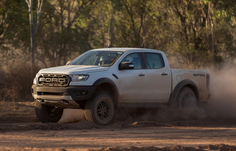 Photo wallpaper white, movement, Ford, dust, Raptor, pickup, 2018, Ranger