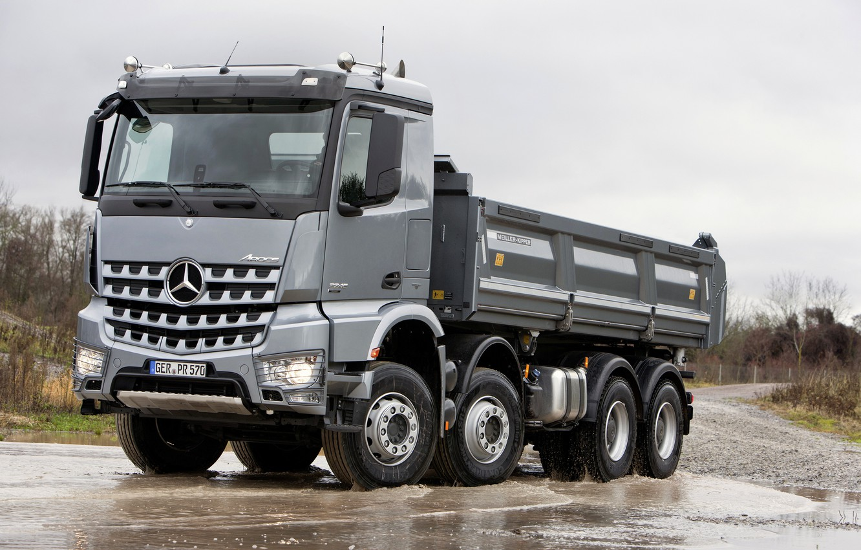 Photo wallpaper grey, overcast, Mercedes-Benz, 2013, dump truck, Arocs, four-axle