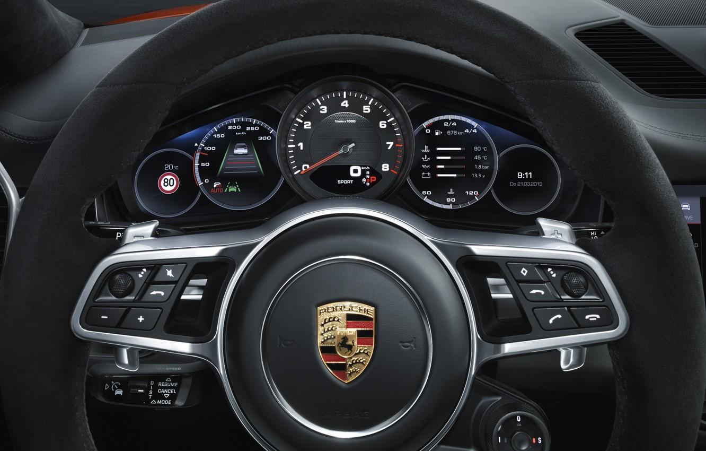 Photo wallpaper Porsche, speedometer, the wheel, Coupe, Turbo, Cayenne, dashboard, 2019