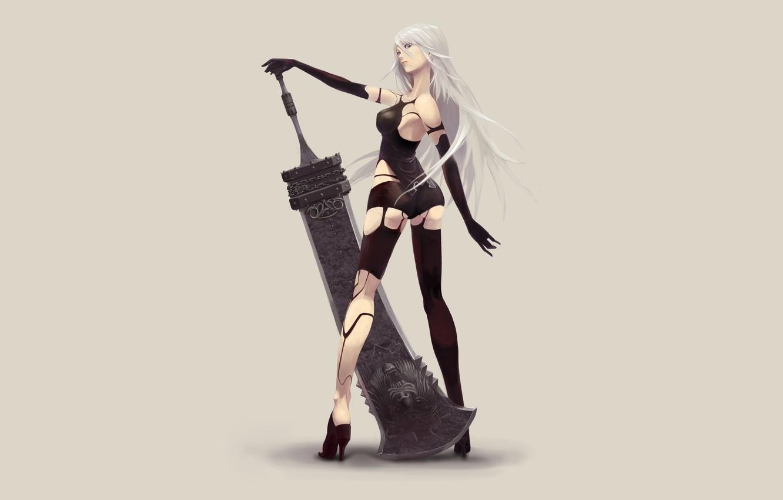Photo wallpaper Girl, Android, Fantasy, Art, Style, Illustration, Minimalism, Sword, Game Art, NieR, Nier Automata, YoRHa, YoRHa …