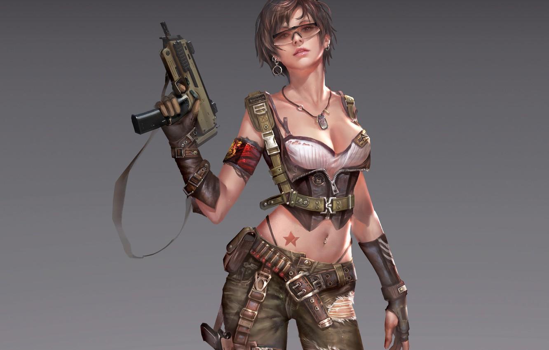 Photo wallpaper look, girl, pose, weapons, background, art, glasses, cartridges, art