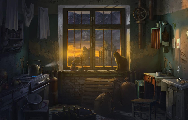 Photo wallpaper cat, kettle, window, apartment, matryoshka, ATOM RPG