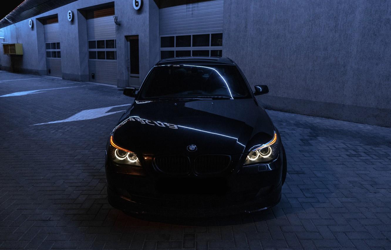 Photo wallpaper night, bmw, BMW, light, sedan, front view, night, bmw5, angeleyes, бмв5