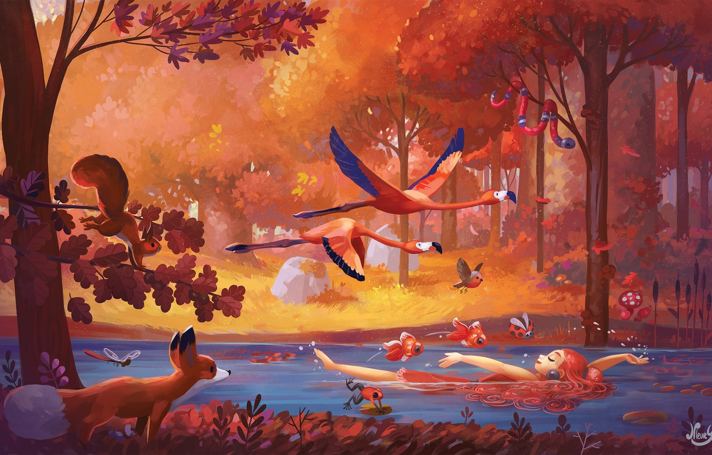 Photo wallpaper forest, animals, girl, fish, landscape, birds, nature, river, fantasy, art, illustration