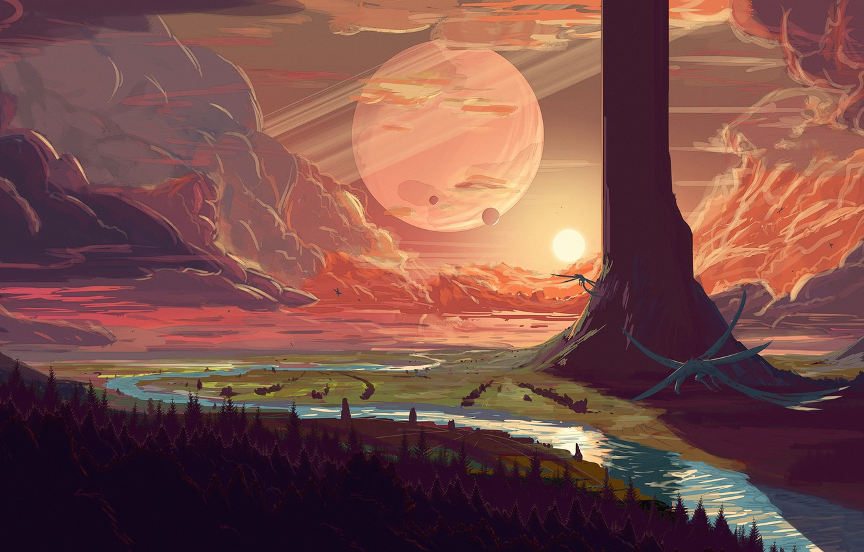 Photo wallpaper fantasy, forest, river, trees, sunset, clouds, planet, artist, digital art, artwork, fantasy art, creature, fantasy …