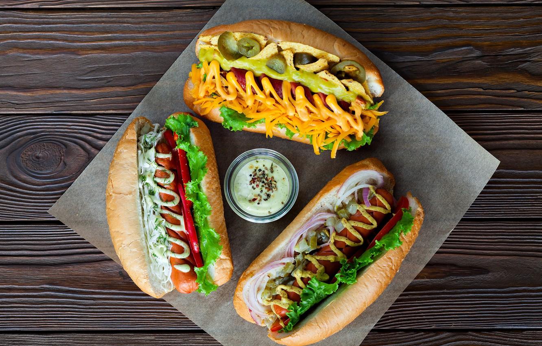 Photo wallpaper sausage, carrot, sauce, ketchup, salad, buns, hot dog
