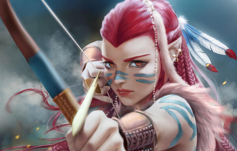 Photo wallpaper girl, bow, Archer, fantasy, art, hunting, shooter, fragment, NATIVE, Yanai Draws