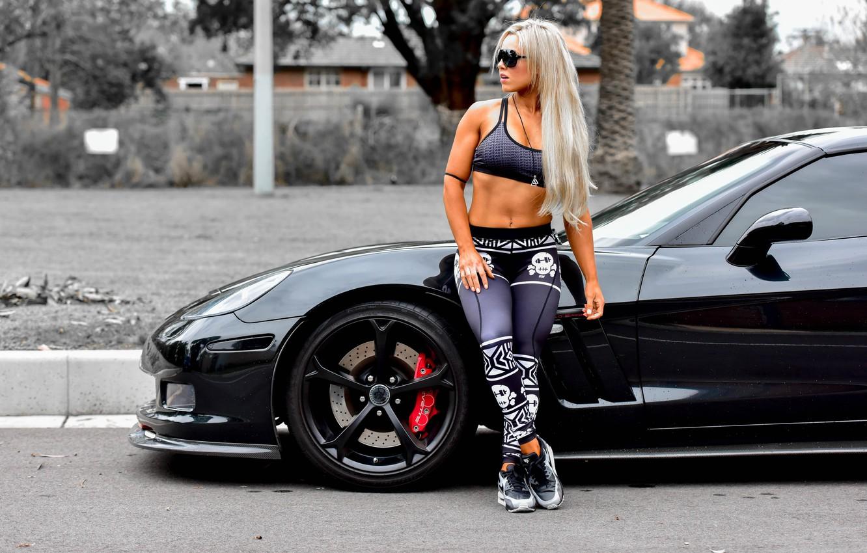 Photo wallpaper machine, auto, pose, model, figure, glasses, blonde, fitness, Stephanie Sanzo