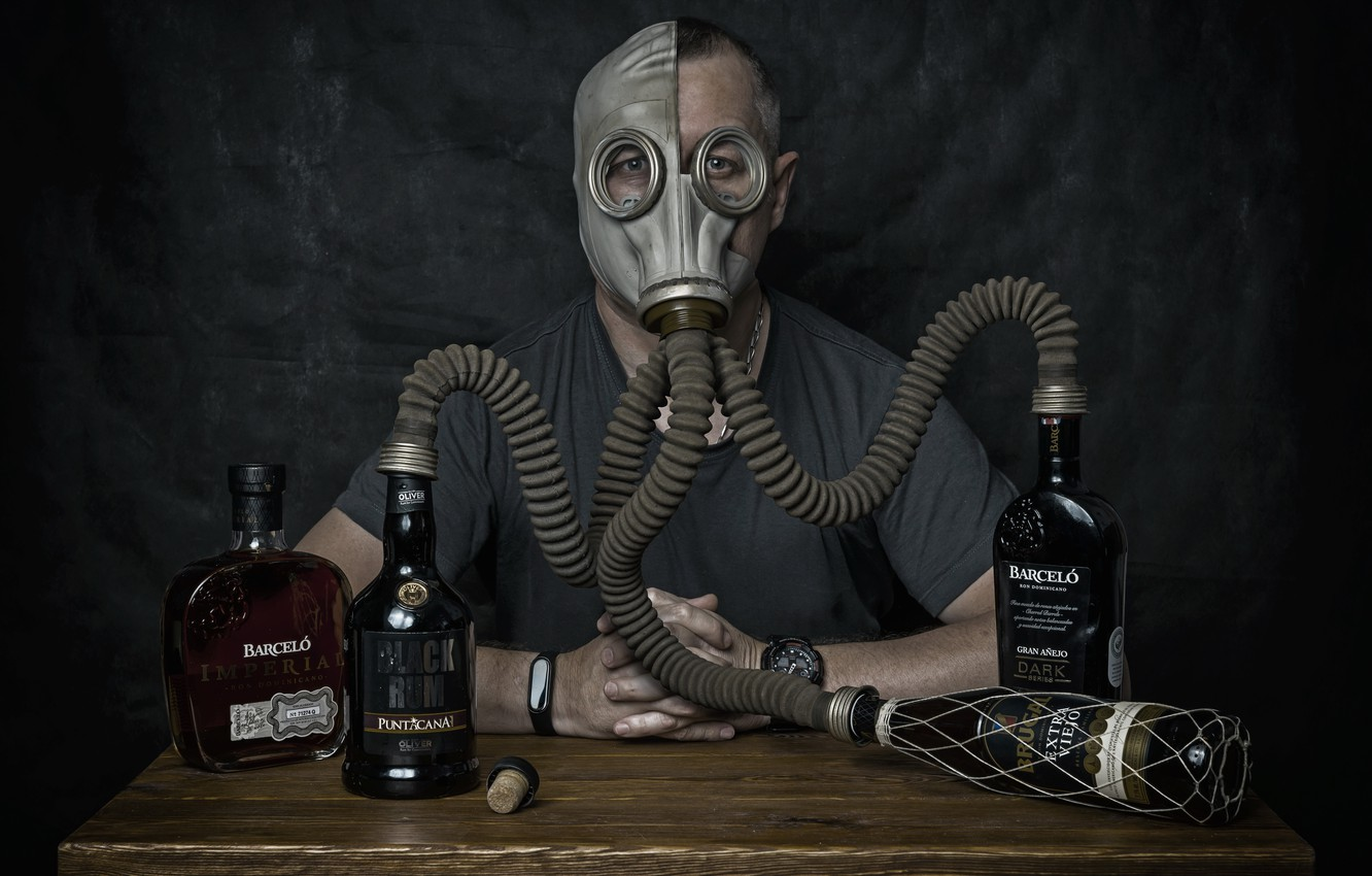 Photo wallpaper people, alcohol, gas mask