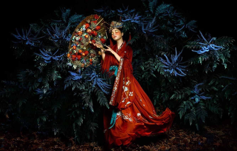 Photo wallpaper girl, style, umbrella