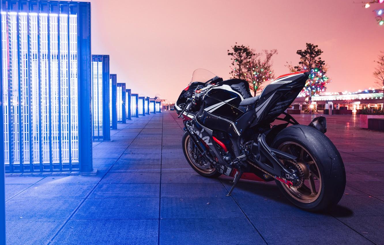Photo wallpaper city, lights, Kawasaki, night, ninja, kawasaki ninja zx10r