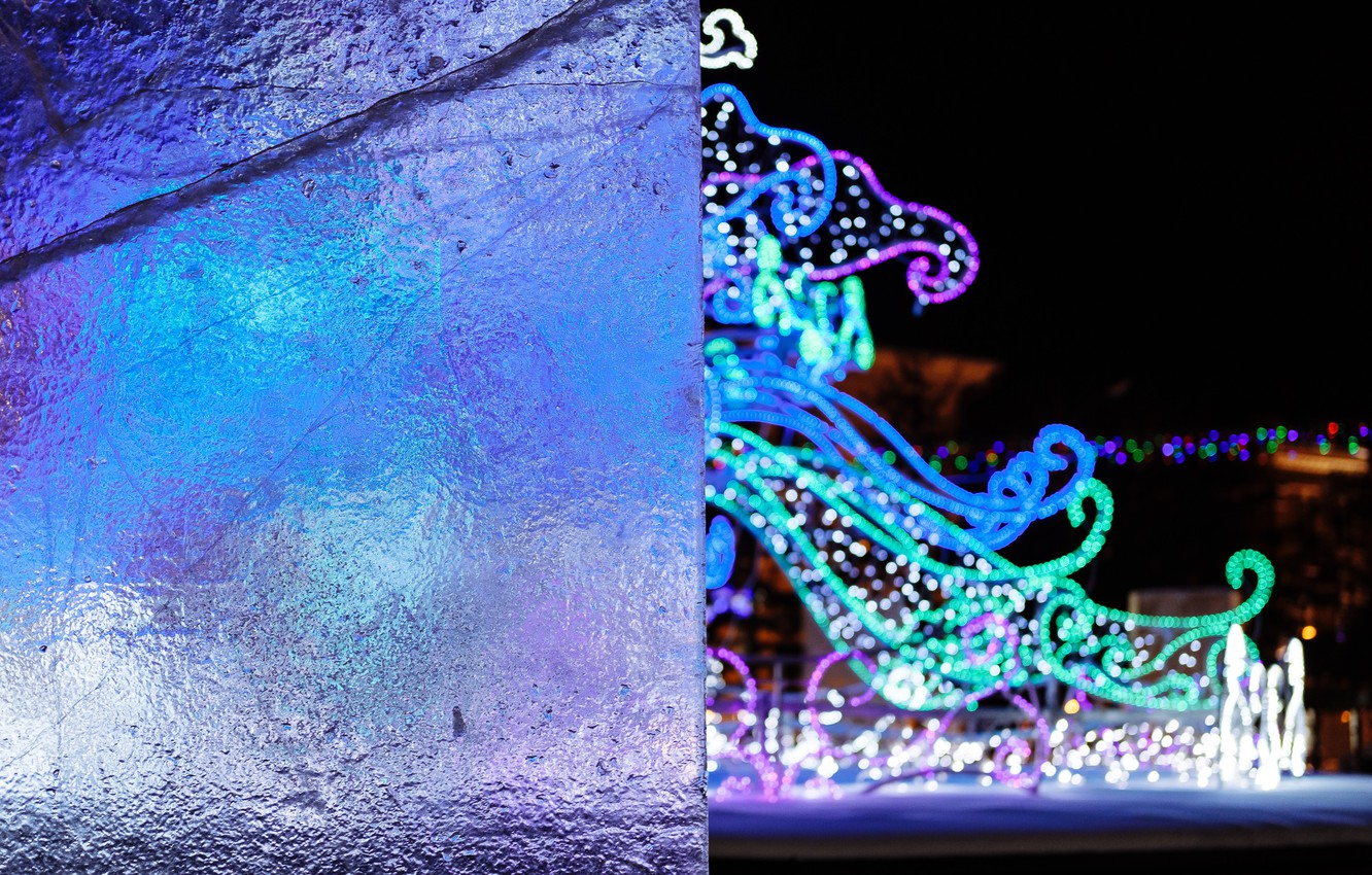 Photo wallpaper ice, winter, lights, mood, new year, the evening