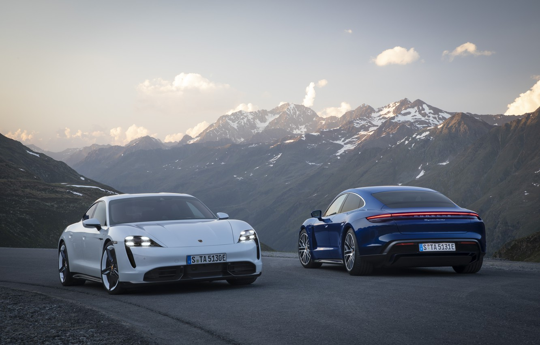 Photo wallpaper machine, mountains, Porsche, turbo, turbo s, Taycan
