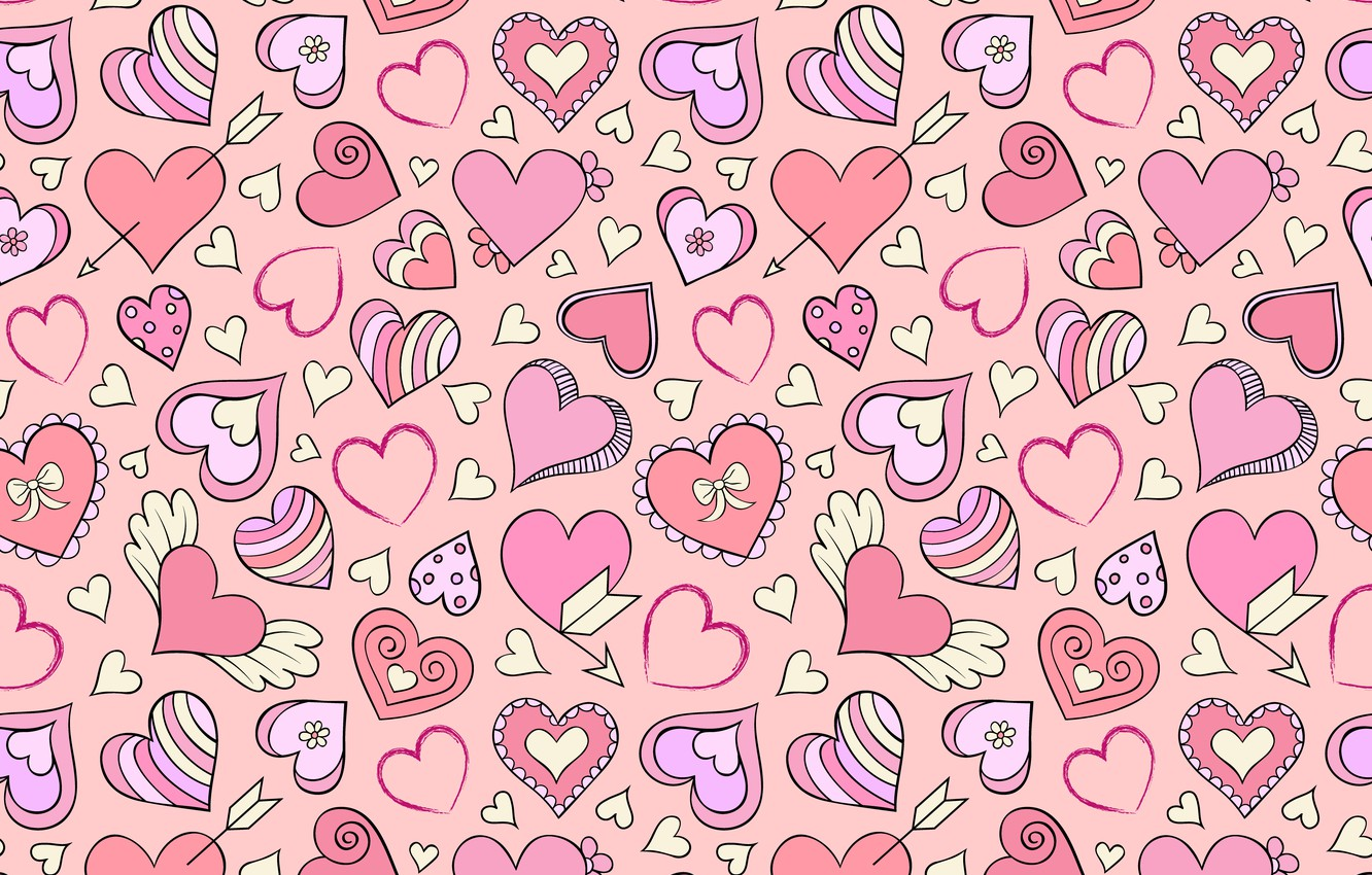 Photo wallpaper background, pink, hearts