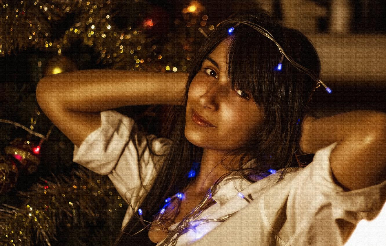 Photo wallpaper lights, girl, beautiful, look, pose, Christmas tree, Kide Fotoart