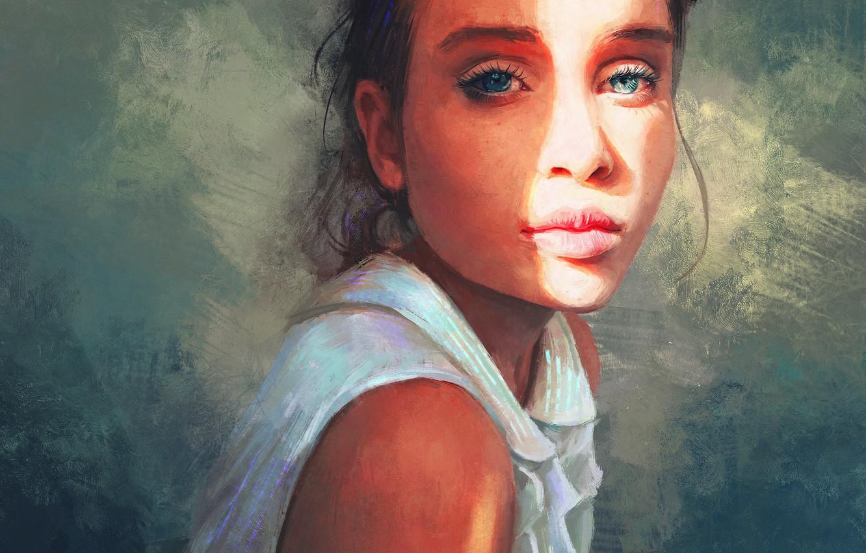 Photo wallpaper Girl, Figure, Look, Lips, Girl, Eyes, Art, Art, Eyes, Lips, Look, Sunlight, Artist, Artist, Mandy …