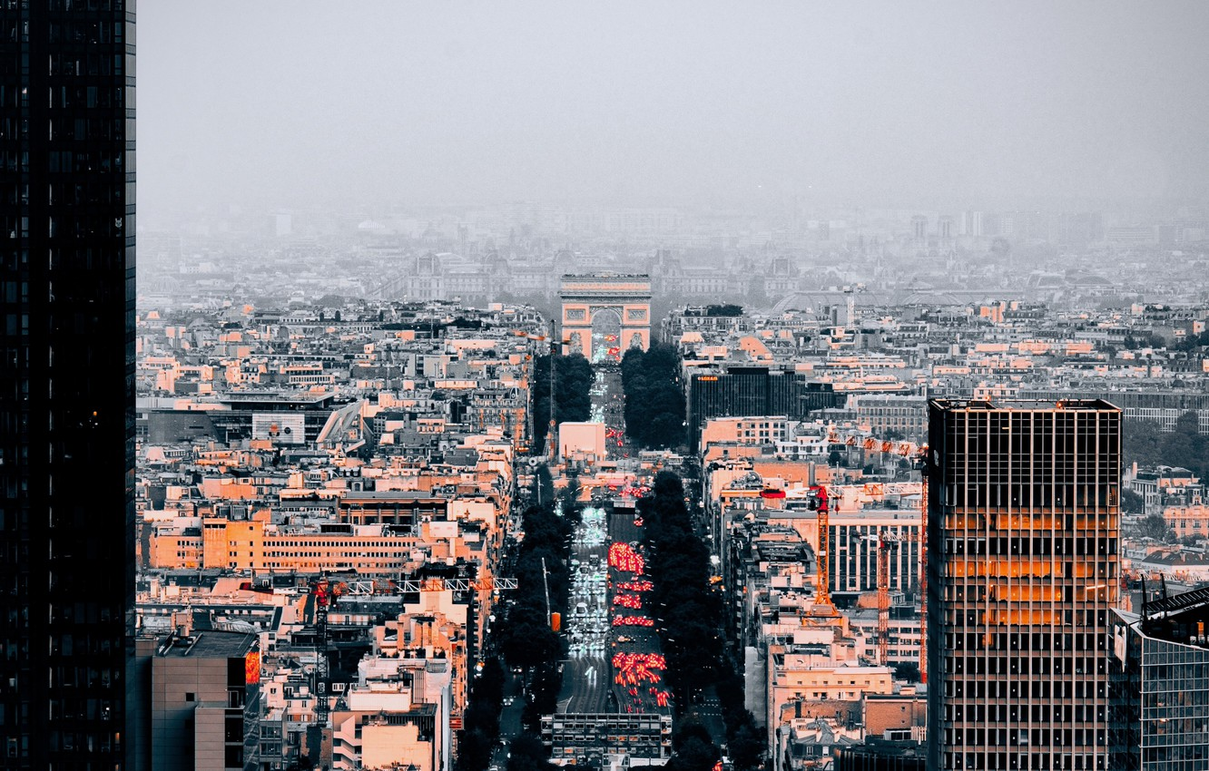 Photo wallpaper road, the city, fog, Paris, building, architecture, the view from the top