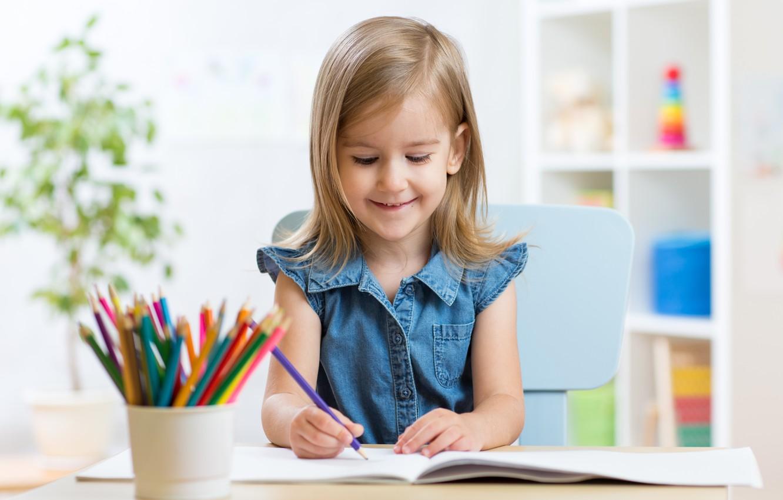 Photo wallpaper child, pencil, drawing