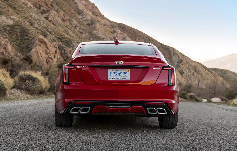 Photo wallpaper red, Cadillac, sedan, rear view, four-door, 2020, CT5-V