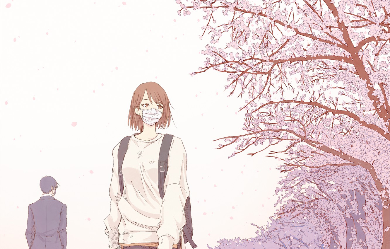 Photo wallpaper girl, people, spring, Sakura, mask, quarantine