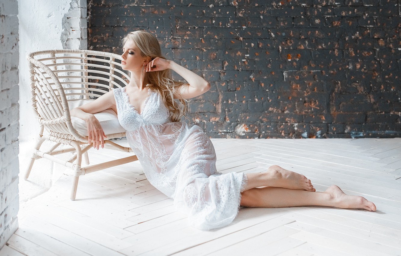 Photo wallpaper girl, pose, chair, negligee, on the floor, Pavel Ermakov