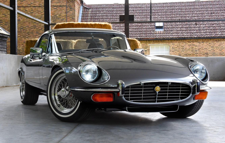 Photo wallpaper Jaguar E-Type, Chrome, Classic car