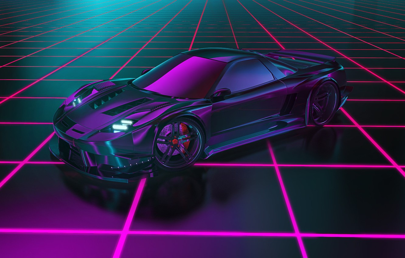 Photo wallpaper Honda, Neon, Concept Art, Honda NSX, Synth, Retrowave, Synthwave, New Retro Wave, Futuresynth, Sintav, Retrouve, …