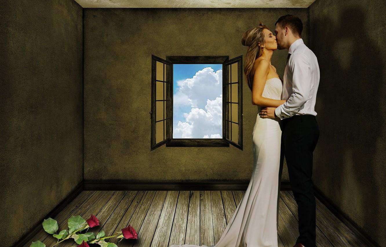 Photo wallpaper girl, kiss, hugs, male, lovers, Susan Cipriano