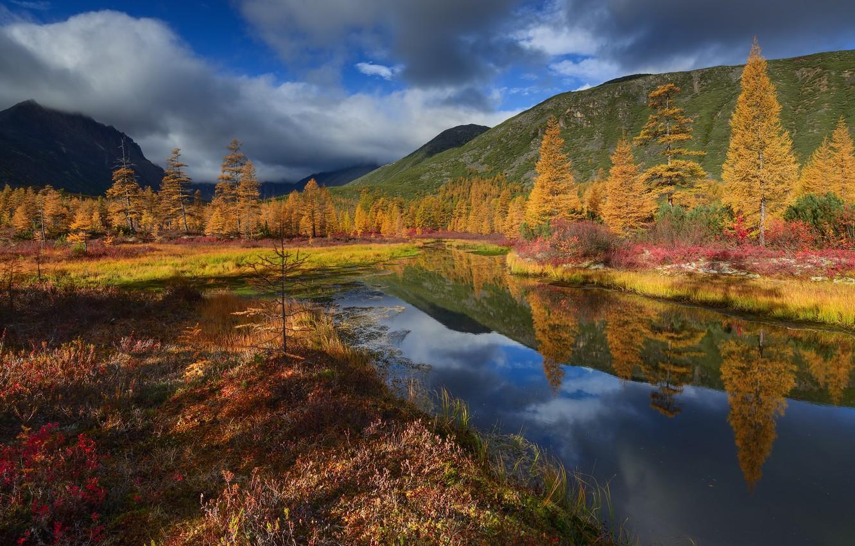 Photo wallpaper autumn, clouds, landscape, nature, stream, hills, Kolyma, Maxim Evdokimov, Unknown