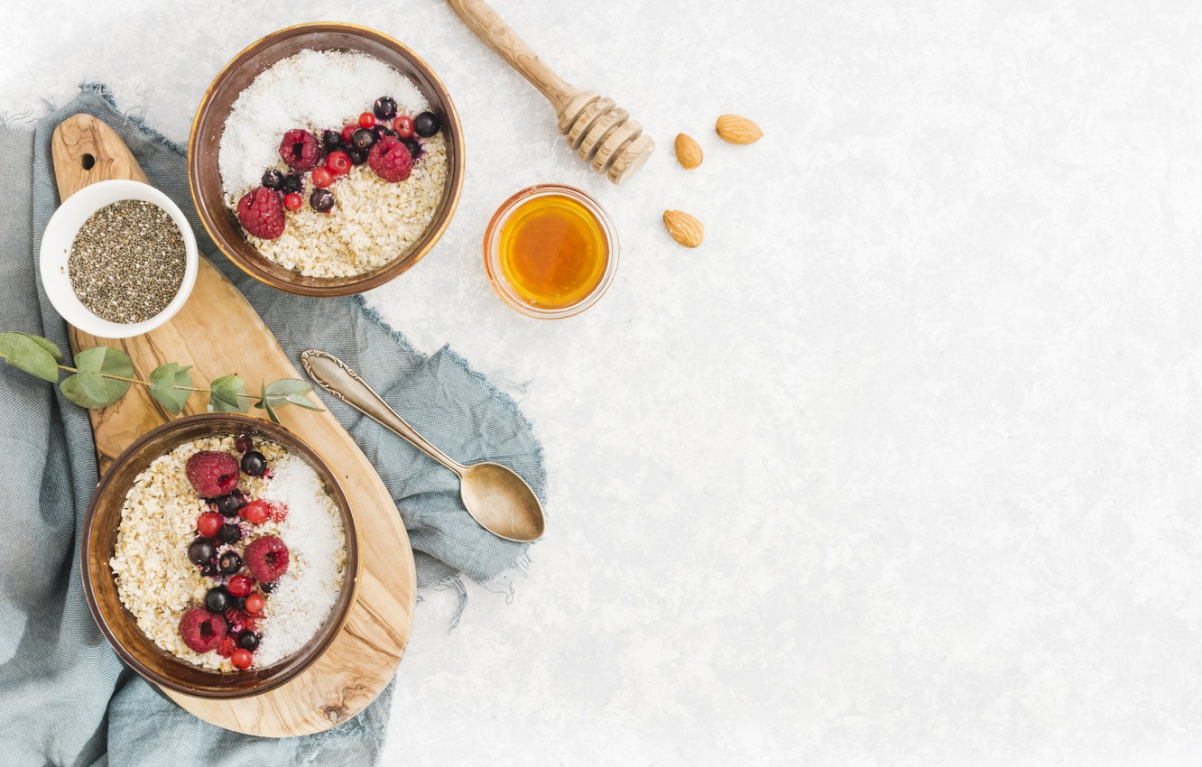 Photo wallpaper berries, Breakfast, honey, fruit, cereal