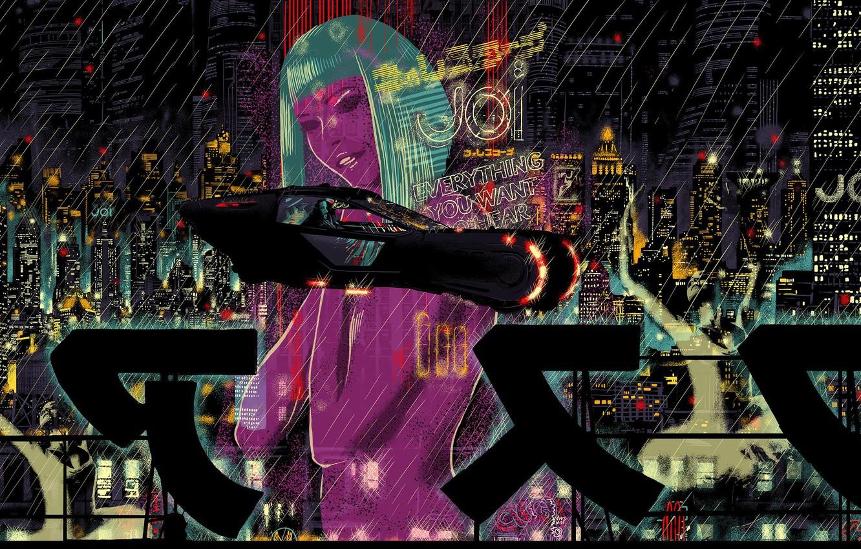Photo wallpaper Girl, Auto, Night, The city, Neon, Rain, City, Movie, Fantasy, Art, Art, The film, Fiction, …