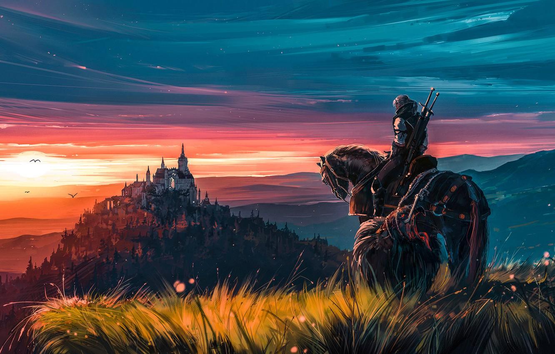 Photo wallpaper fantasy, game, twilight, sky, landscape, nature, sunset, evening, painting, horse, castle, weapons, digital art, artwork, …