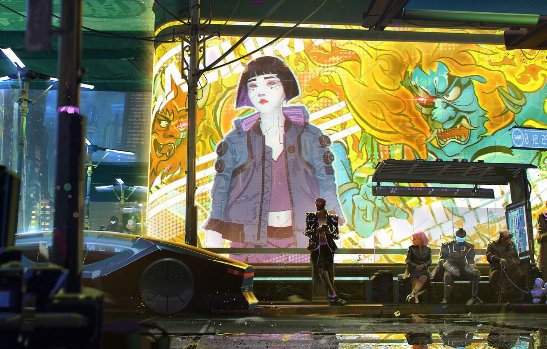Photo wallpaper girl, art, street, Cyberpunk 2077, Cyberpunk