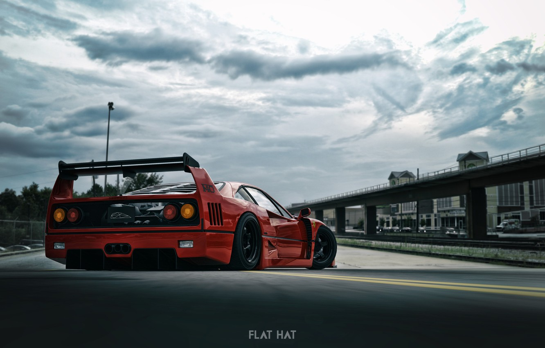 Wallpaper rendering, Red, Auto, Machine, Ferrari F40, Sports