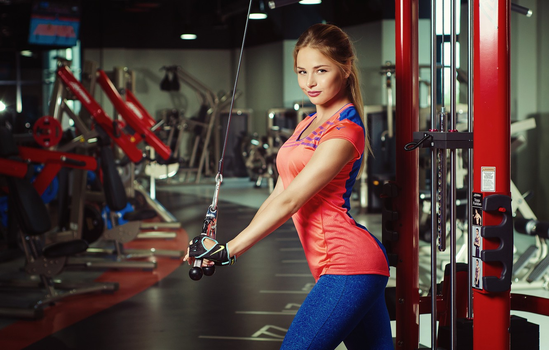 Photo wallpaper look, girl, pose, sport, fitness, simulators, gym, Nicolas Verano, Nikolas Verano