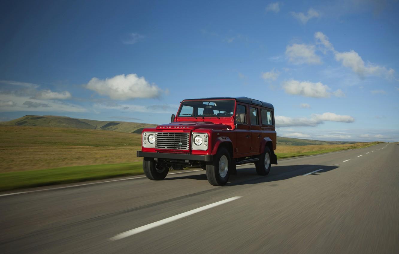 Photo wallpaper asphalt, Land Rover, Defender, 2013, Defender 110
