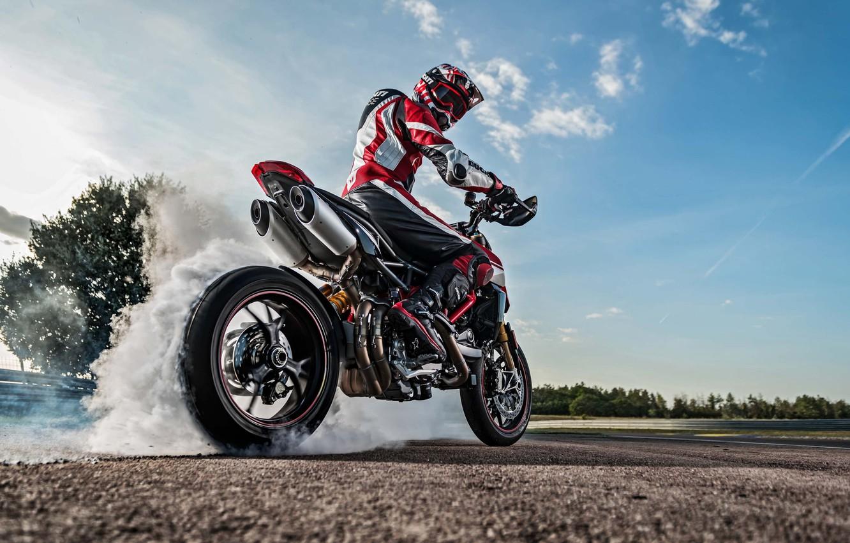 Photo wallpaper Ducati, sky, bike, smoke, tires, warming up, racing track