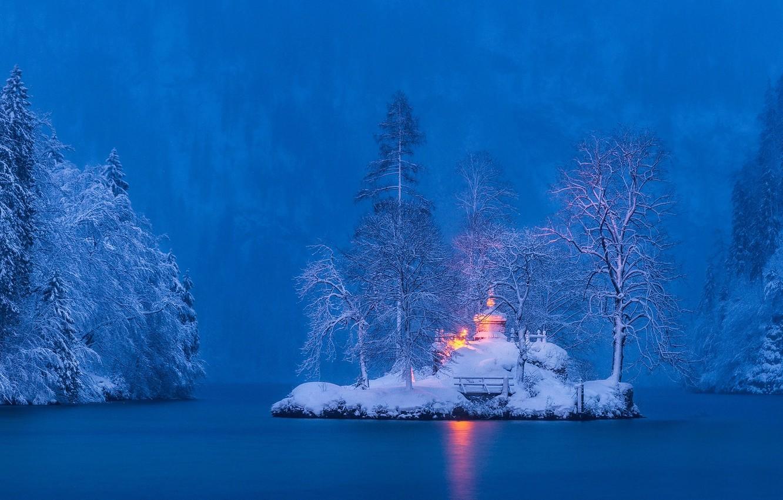 Photo wallpaper winter, snow, trees, landscape, nature, lake, Germany, Bayern, island, Eugene Bartnicki, Königssee