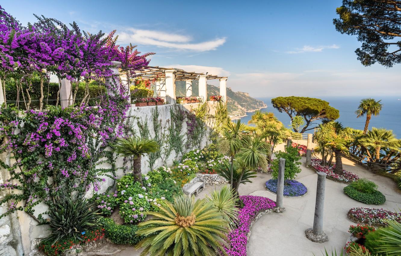 Photo wallpaper Italy, Ravello, Amalfi coast, Villa Rufolo