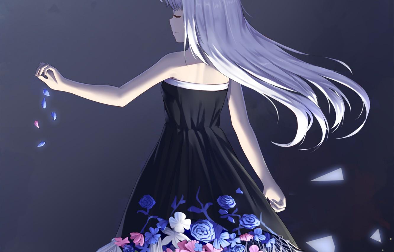 Photo wallpaper girl, flowers, back