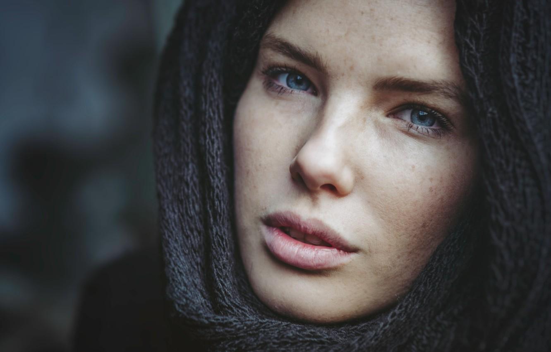 Photo wallpaper girl, blue eyes, beauty, face, scarf, Martin Tim
