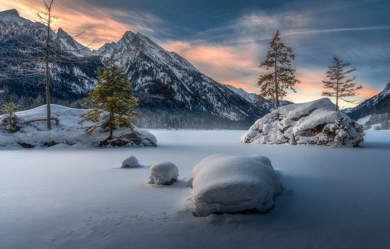 Photo wallpaper winter, mountains, lake, Germany, Bayern
