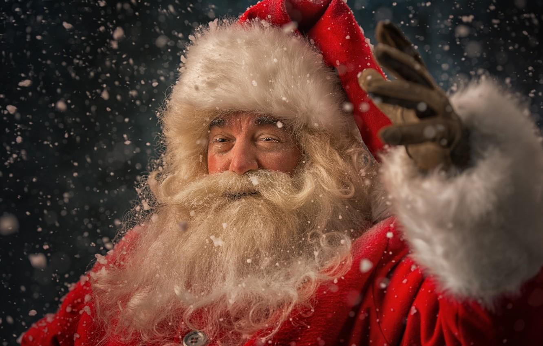Photo wallpaper winter, snow, New Year, Christmas, Santa Claus, happy, Santa Claus, Christmas, winter, snow, Xmas, Santa …